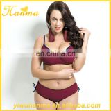 Simple european swimwear dark red women bathing suit bikinis with foam padding