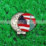 Free mold magnetic cap clip with US flag ball marker