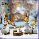 Resin Crafts Garden Decoration Musical Grey Rabbit Figurine