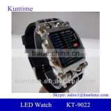Hot New Products For 2014 Men's LED Lattice Display Black Rubber Band Wrist Watch