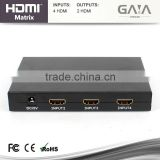 4x2 V1.3 HDMI Matrix Switch/Splitter (4-in, 2-out) with Remote Control & L/R Audio Output; Supports 1080p hdmi matrix switch 4x2
