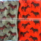 neon orange horse printed scarf beige horse scarf with neon printed