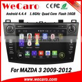 Top Version Android 4.4.4 car dvd 1024 * 600 for mazda 3 double din car stereo radio gps 16GB Flash 2009-2012