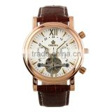 Gents White Dial Leather Strap Tourbillon Mechanical Watch