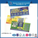 Art Paper Paper Type and Paper & Paperboard Product Material Lottery Scratch Card Printing