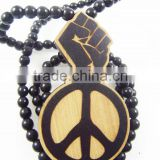 Good quality Hip-hop fist Pendant wood Ball Bead Chain Necklaces