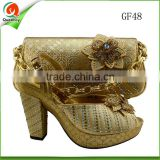 wholesale gold flat shoes lady casual shoes womens matching shoe and bag set korean design