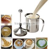400ML Stainless Steel Pump Milk Frother Creamer Foam Cappuccino Coffee Double Mesh Froth