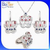 2016 New Elegent Design 925 Sterling Silver CZ Micro Pave Setting Anniversary Jewelry Set