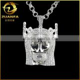 hip hop iced out lab created diamond sterling silver jesus head pendant