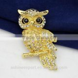 Cute animal series-magnificent KC gold owl brooch/handmade rhinestone brooch