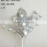 "2014 Popular Artificial Christmas Silver Flower Pick 6"" Artificial Fruit Flower With Berries"