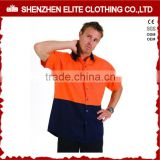 custom button up work two tone work shirt short sleeve hi vis