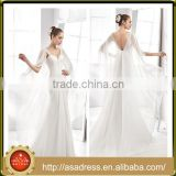 A41 Fairy Style Chiffon Bridal Party Gown 2016 V Cut Low Back Cowl Neck Wedding Dresses Plus Size for Beach Wedding Party