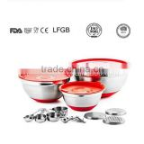 2016 new stainless steel mixing bowl set with 3 grater lid                                                                                                         Supplier's Choice