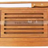 Bamboo Wooden Bread Cutting Board Set with 1pc knife and Slat Designed Movable Upper Board
