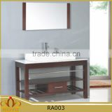 Classic European style countertop ceramic basin MDF bathroom vanity cabinet RA003 with solid wood leg