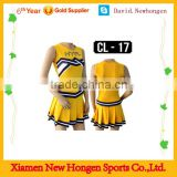 Sublimated yellow cheerleading uniforms, cheer dance costumes