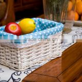 wicker cane basket shopper storage willow fruit & flower basket gift craft with liner for wholesale