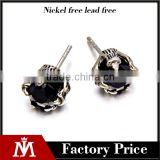 2016 new design stainless steel earring for men plaw with black stone earring
