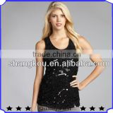 China Wholesale Tank TopS women black cool style sequin beading ladies tops images