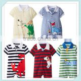 Boys And Girls Spring&Summer Stripe Printed Cotton Rompers Baby Short-Sleeve Cartoon Animal One-piece Romper Image