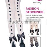 Fashion Stockings White Sheer Thigh High With Polka Dot Back Seam And Satin Ankle Bow