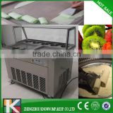 Commercial square pan fried ice cream maker roll machine for sale with 5 topping pan and refrigerator