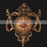 French Rococo Style Home Decoration Wall Clock, Antique 24K Gold Plated Wall Hanging Clock