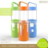Mouth Blown Personalized Borosilicate Glass Sport Bottle Silicone