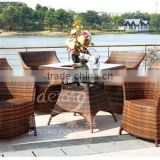 PE rattan wicker baroque sala outdoor dining table sets outdoor furniture