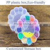 PP Plastic Flower shaped Storage Box Small parts Kits Beads Storage Case Boxes With 13 Compartments