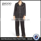 Women Plain Long Pajamas Set Black Satin Blank Pyjama Set Long Sleeve With Long Pants Nightwear