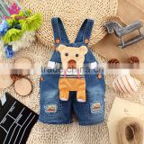 New Design Kids Summer Clothing Children Denim Short Overalls Baby Fashion Strap Jeans Pants