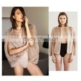 SJ436-01 Short Style Women Party Cape Top Quality Sexy Lady Rabbit Coat Poncho Fur Winter