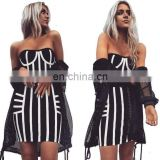 Amigo 2017 new design black white 2pcs sets crop top and mid pencil skirt bandage dress suit sexy evening dresses for women