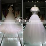 Off Shoulder A Line And Back Deep V Neck Lace Up Wedding Dress Big Train Wedding Gown