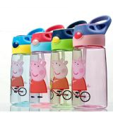 Peppa Pig plastic children kid straw press lid water bottle with handle BPA free