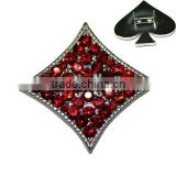 Rhinestone Poker Apricot Shape Zinc Alloy Metal Rivets for Pet Collars and Bracelets