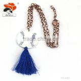 Alibaba alloy chain cheap red blue baseball tassel epoxy polyester lines necklace