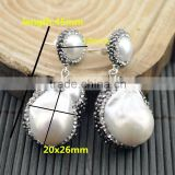 LFD-07E Finding Druzy 925 Silver Pearl Pave Rhinestone Crystal Drop Earring / Stud Earrings Charms Jewelry