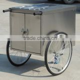 Stainless Steel Traditional Street Hot Dog Push Cart For Sale, Hand Push Food Cart made in china