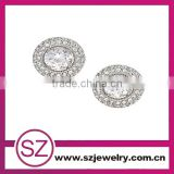 EAR 0014 fashion silver plated beautiful crystal stud brass metal earrings for boys alibaba china