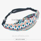 Factory wholesale ready stock 3D digital printed aztec waist bag for ladies sport and leisure