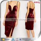 Women Dark Red Bandage Bodycon Velvet Sexy Party Cocktail Dresses