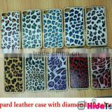 Hot sell leopard grain mobile phone case for apple iphone 4s, diamond decoration leather design