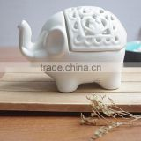 Ceramic White elephant tealight candle holder,Ceramic elephant Tea Light Candlestick
