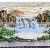 Chinese landscape fabric oil painting wall hanging