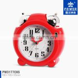 Small cheap alarm clocks in red and white color With light and mechanical ringing bells CE/FCC certification PW3177
