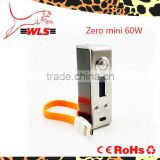 2015 high quality zero mod 60W vape box mod 18650 battery e cig kit VS sub mini bell cap